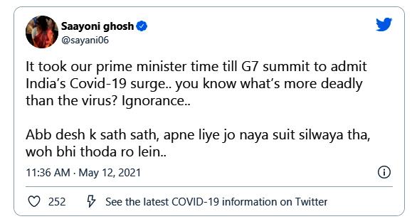 Saayoni Ghosh Slams Central Government on Corona Situation