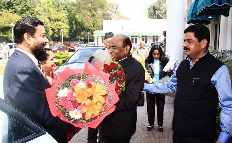 भारत भ्रमणमा रहनुभएका उपप्रधान एबम गृहमन्त्री बिमलेन्द्र निधि र भारतीय राज्य सभाका सांसद डि.पी त्रिपाठी बीच आज दिल्लीमा भेटबार्ता
