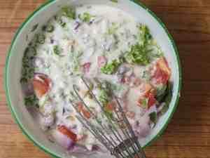 Rava uttapam -mix well with vegs