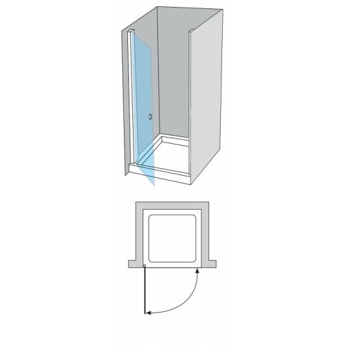 porte de douche pivotante verre bleu 50cm gauche