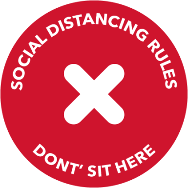 DON'T SIT HERE social distancing chair sticker