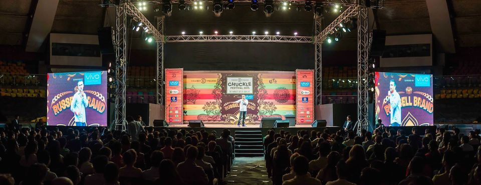 On stage for Russell Brand in India in Delhi.