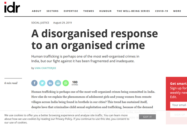 article on organized nature of trafficking and gaps in redressal mechanism