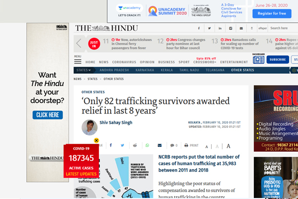 'Only 82 trafficking survivors awarded relief in last 8 years