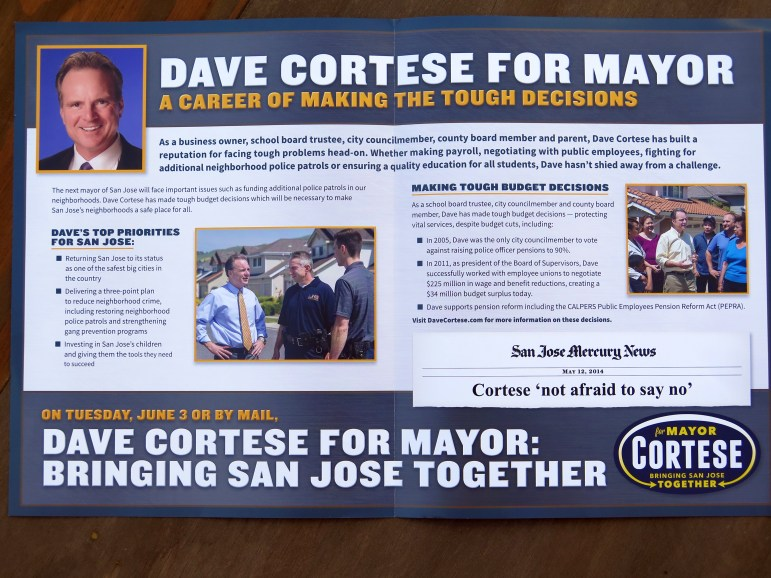 This is the full inside spread of a recent Dave Cortese campaign mailer.