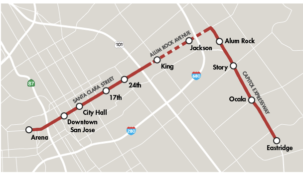 The new rapid bus route will connect San Jose's East Side to downtown.