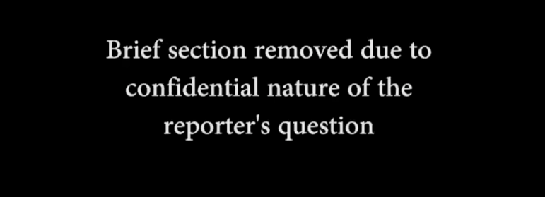 This screenshot shows the redacted portion of an interview with Santa Clara Valley Water District CEO Beau Goldie.
