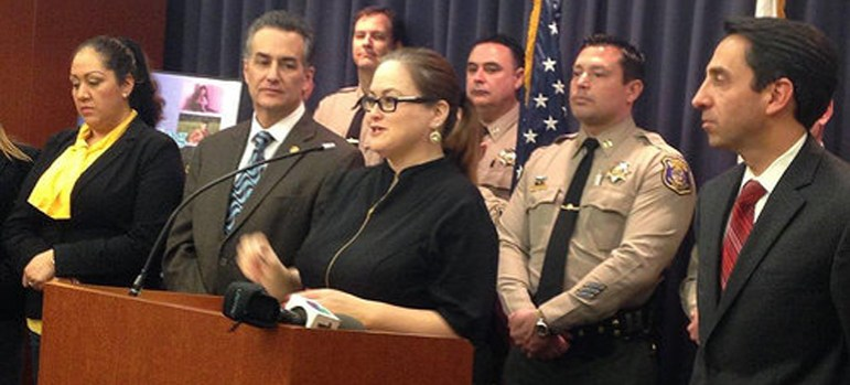 Cindy Chavez, center, has taken the lead on publicizing human trafficking at the county, which some critics suggest may be a form of political star building. (Photo via sccgov.org)