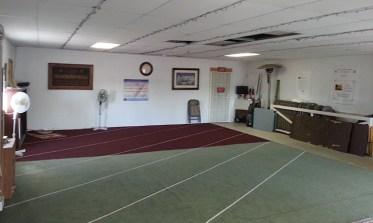 "Inside the ""prayer hall"" of the SVIC's barn mosque."