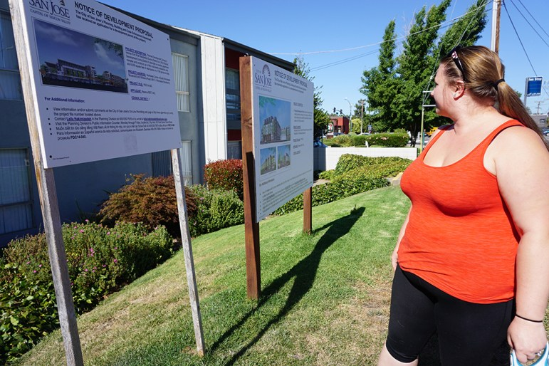 Brandie Locke says she only found out about Greystar's plans to redevelop The Reserve from signs posted on the perimeter of the property. (Photo by Jennifer Wadsworth)