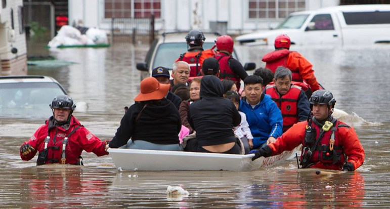 Floods on Feb. 21 forced emergency evacuations throughout the South Bay. (Photo by Craig Allyn Rose, via Friends of San Jose Firefighters)