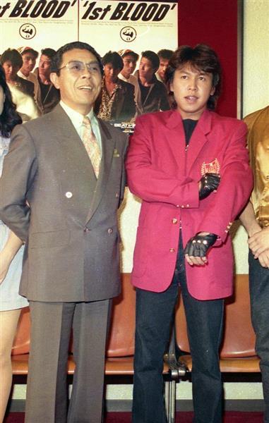 北島三郎さん(左)の次男で、バンド「1st BLOOD」のボーカルのMAKOTOとして活動していた大野誠さん=昭和63年8月26日