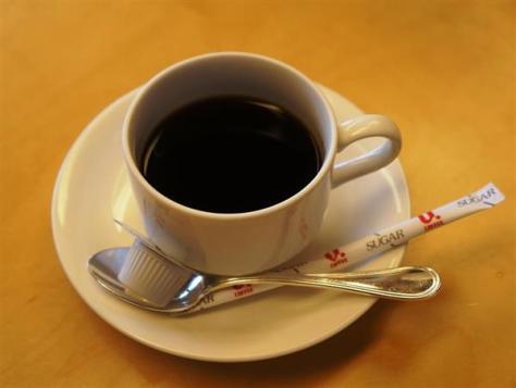羽生善治棋聖が注文したホットコーヒー=17日午前、東京都千代田区の都市センターホテル
