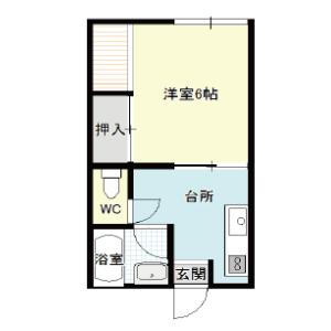 【秋田県・にかほ市平沢字館ヶ森】賃貸 アパート 1K|メイプルハウス|間取り図