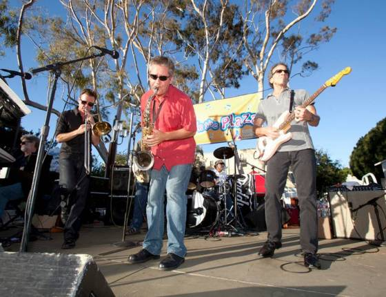 A large crowd rocks out to Big Daddy's Blues Band during the last Concert in the Plaza of the summer on Friday, Sept. 5, 2014, in San Luis Obispo's Mission Plaza.