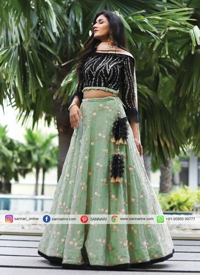 Blissful Black And Pista Green Readymade Lehenga Choli - Pista Colour, Pista Green Embroidered Kurta Combination Dresses Kurti Designs Lehnga Designs