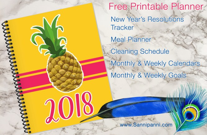 The most amazing free printable planner for 2018 includes weekly and monthly spreads, goal setting sheets, meal planning and cleaning and self-care charts!