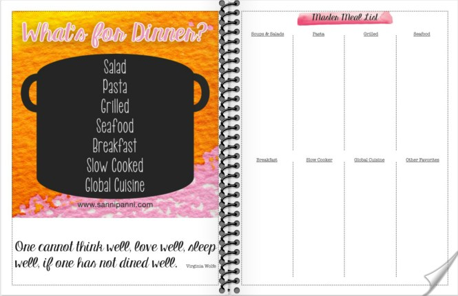 Meal planning section of the free 2018 printable Sannipanni Planner