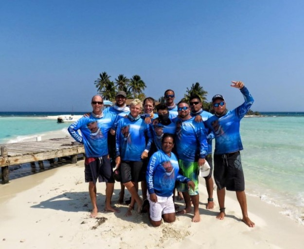 Kitesurfing from Ambergris Caye to Placencia.  The crew at gorgeous Goff's Caye.  Beautiful Belize.