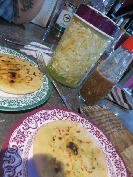 One pork and one pumpkin pupusa