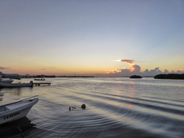 The last minutes of sunset, lagoon side san pedro Belize