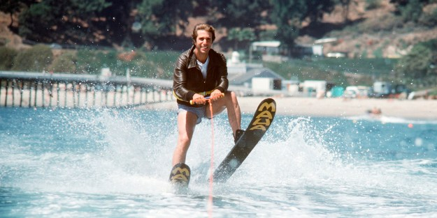 "UNITED STATES - SEPTEMBER 20:  HAPPY DAYS - ""Fonzie Goes to Hollywood, Part III"" - Season Five - 9/20/77, Fonzie (Henry Winkler) accepted a challenge to jump over a shark tank while water skiing.,  (Photo by ABC Photo Archives/ABC via Getty Images)"
