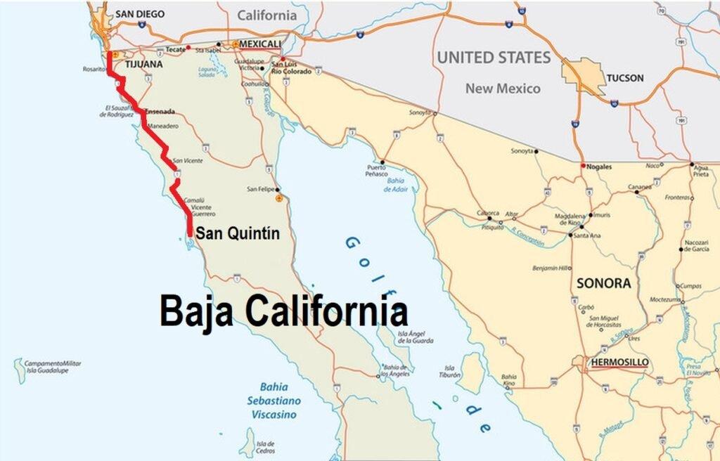 Map to San Quintin, Baja California from San Diego