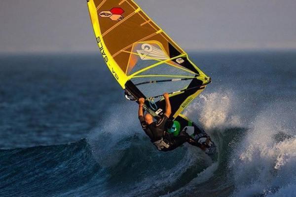 Windsurfing at Solo Sports at Punta San Carlos Surf Camp in Baja California, Mexico