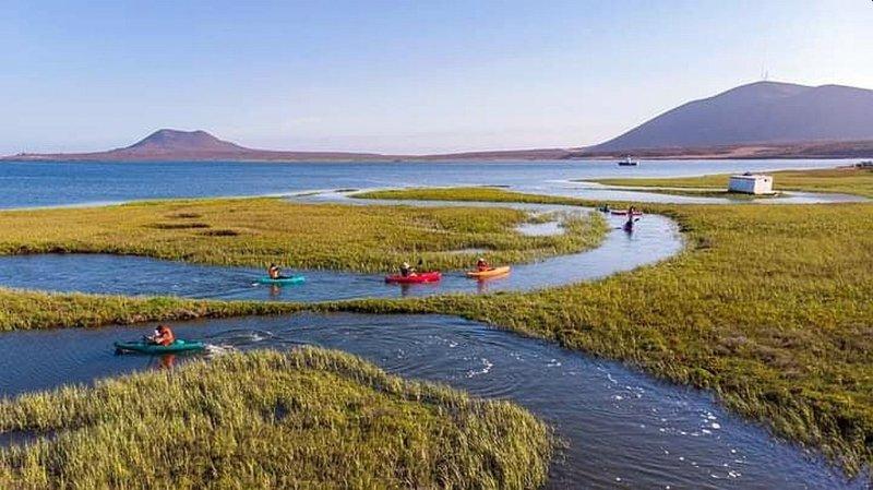 Kayaks in San Quintin Bay at La Ostionera de Bahia, Flasa, San Quintin, Baja California Mexico