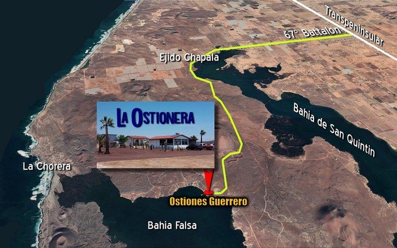 Map to La Ostionera - Ostiones Guerrero at Bahia Falsa, San Quintin, Baja California Mexico