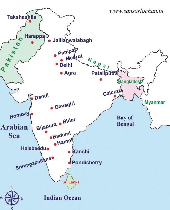 Places of historical importance upsc map related questions map of india historicalplacesindia gumiabroncs Choice Image
