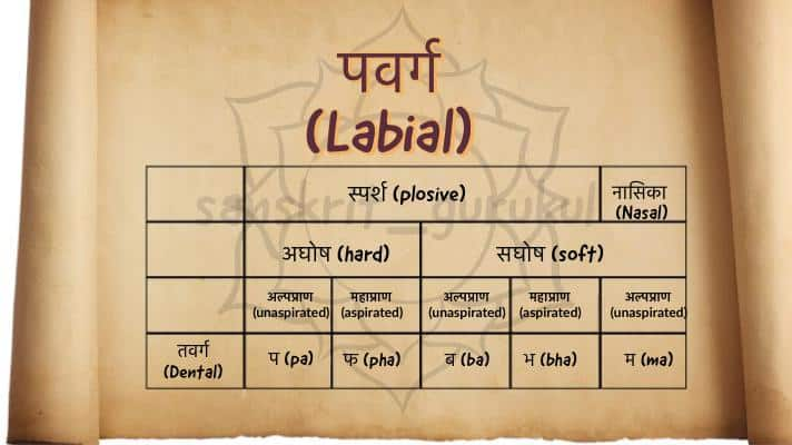 Example of पवर्ग (labial) words in sanskrit.