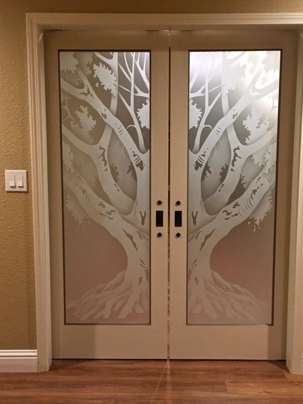 Oak Tree II 2D Private Etched Glass Doors Rustic Decor