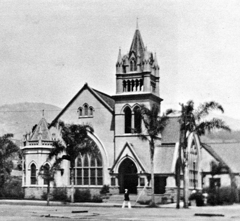 Third Building of First Congregational Church of Santa Barbara at State and Sola, 1907-1936