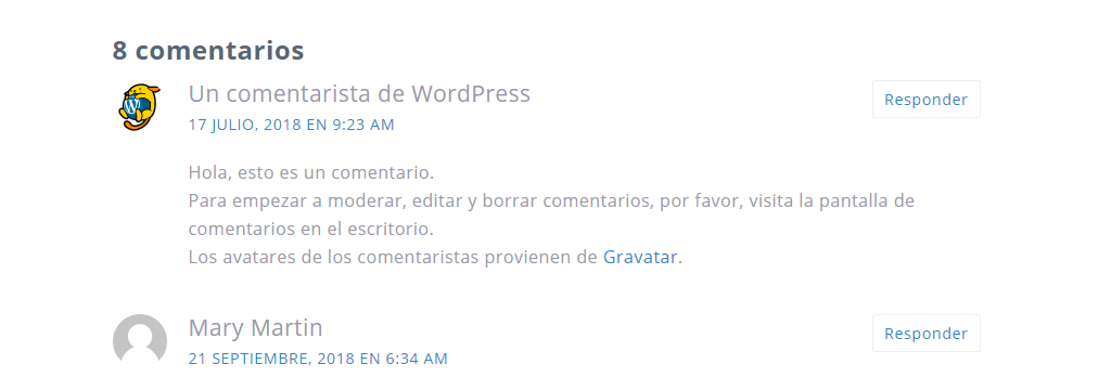 Comentario WordPress