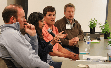 Bart Walker, Dr. Poormina Parameswaran, Tony Koselka and Nathan Dorn discussed the challenges growers face with emerging technologies and science research. (Credit: Jan Janes Media)