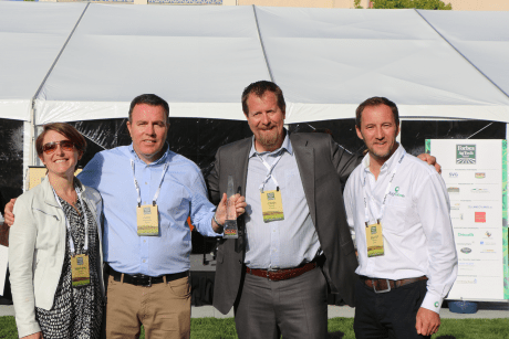 MagGrow was awarded the Thrive Sustainability Award for their work in efficiency and repeatable best practices. Shown after the ceremony are (l-r) Mareese Keane of SVG, Gary Wickham of MagGrow, Chris Boody of SVG, David Moore of MagGrow. (Credit: Jan Janes Media)