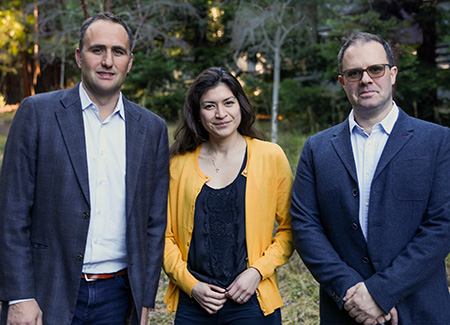 Marco Rolandi, Marcella Gomez, and Mircea Teodorescu lead the UCSC team working to develop a smart bandage for wound healing. (Photo by James McGirk)