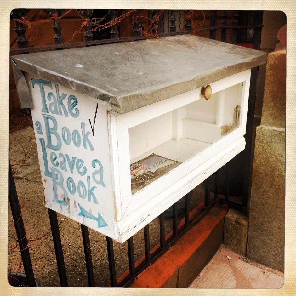 """Someone checked off """"take a book"""" then took all the books. Lol. #newbedstuy #brooklyn #bk"""