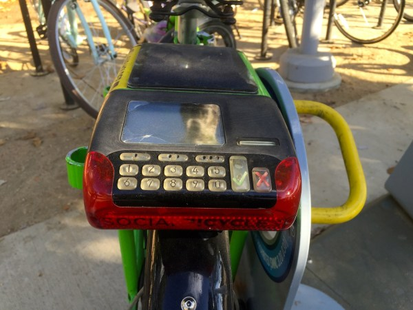 Santa Monica's bike share program uses a smart bike technology that allows users to unlock a bike by entering account information into a keypad at the back of the bike. Images by Saul Rubin