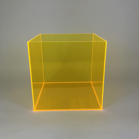 Colored Acrylic 5 Sided Box – Yellow
