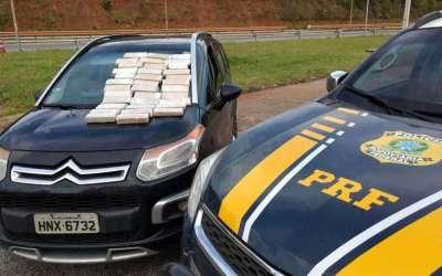 PRF apreende 20 quilos de maconha e prende cinco pessoas na BR-381