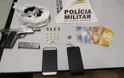 Trio é detido com  arma de uso restrito e drogas em Itaúna