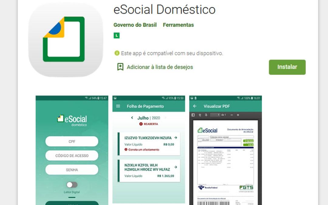 Aplicativo eSocial Doméstico para dispositivos móveis