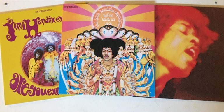 """Gifts for Jimi Hendrix Fans - the 3 studio albums of """"the Jimi Hendrix Experience"""".  """"Are you Experienced"""" """"Axis: Bold as Love"""" and """"Electric Ladyland"""""""