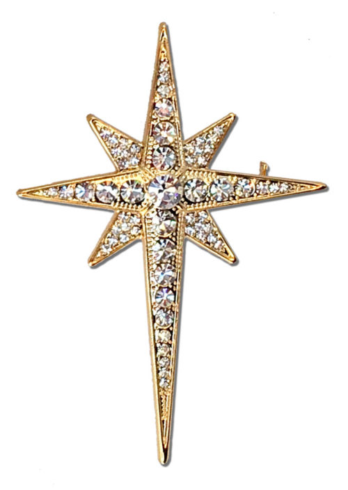 Christmas Star Brooch Or Hat Pin 18 K Gold Plated Santa