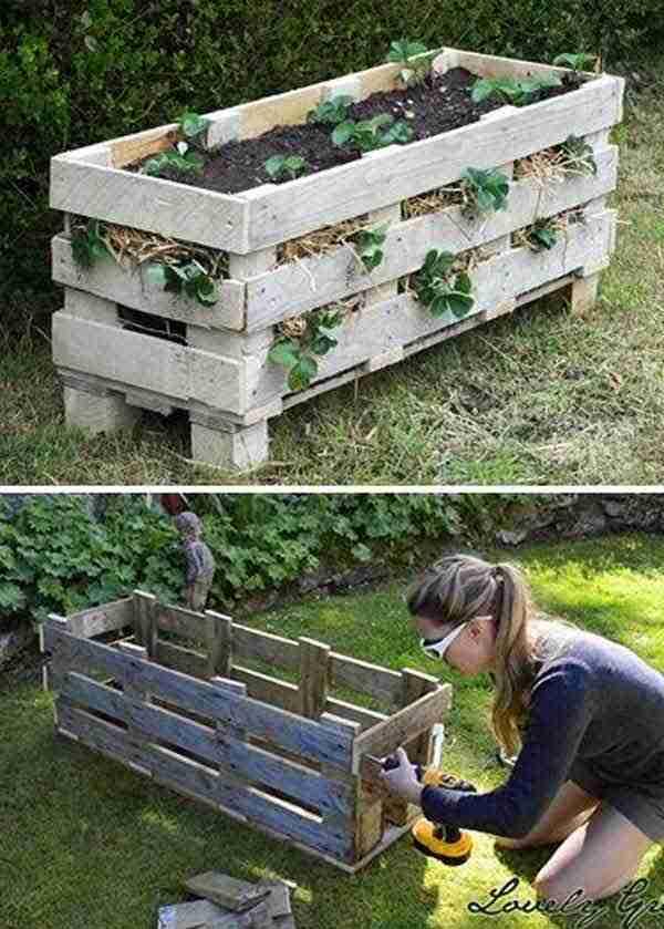 recycler-palette-bois-pour-faire-jardiniere-fraises