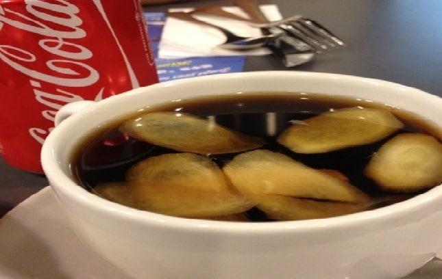 Coca cola bouilli et gingembre + citron pour la toux