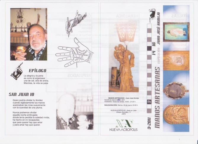 Díptico exposición Juan José Armijo - Manos Artesanas