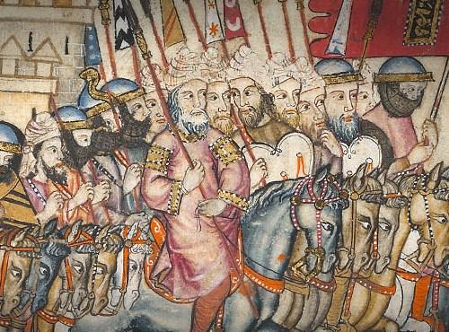 Cántiga 187 Alfonso X. El rey nazarí y su hueste cabalgando camino de Chincoya.